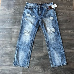 Enyce Straight Fit Distressed Jeans Size 36x32